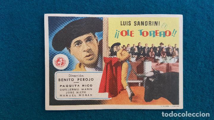 PROGRAMA DE MANO CINE ¡¡OLE TORERO!! (S/F) CON CINE AL DORSO (Cine - Folletos de Mano - Deportes)