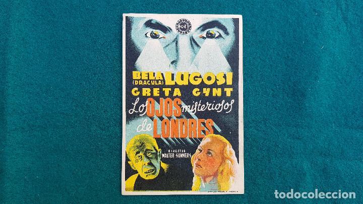 PROGRAMA DE MANO CINE LOS OJOS MISTERIOSOS DE LONDRES (1944) CON CINE AL DORSO (Cine - Folletos de Mano - Terror)