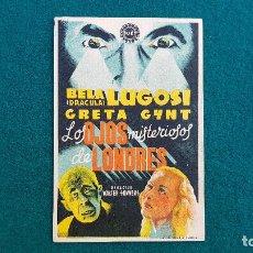 Cine: PROGRAMA DE MANO CINE LOS OJOS MISTERIOSOS DE LONDRES (1944) CON CINE AL DORSO. Lote 222675398