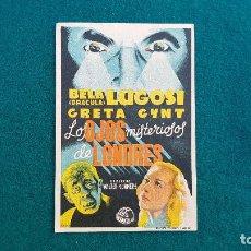 Foglietti di film di film antichi di cinema: PROGRAMA DE MANO CINE LOS OJOS MISTERIOSOS DE LONDRES (1944) CON CINE AL DORSO. Lote 222681018