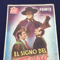 Cine: EL SIGNO DEL ZORRO - 20TH CENTURY FOX - FOLLETO DE MANO DOBLE - REF. FM-043. Lote 222686911