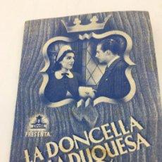 Cine: LA DONCELLA DE LA DUQUESA - CIFESA - FOLLETO DE MANO DOBLE - REF. FM-040. Lote 222689961