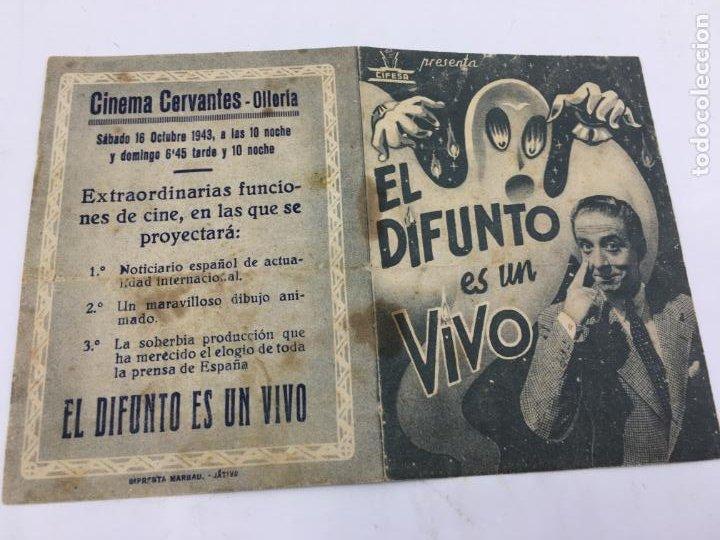 Cine: EL DIFUNTO ES UN VIVO - CIFESA - FOLLETO DE MANO DOBLE - REF. FM-039 - Foto 2 - 222691071