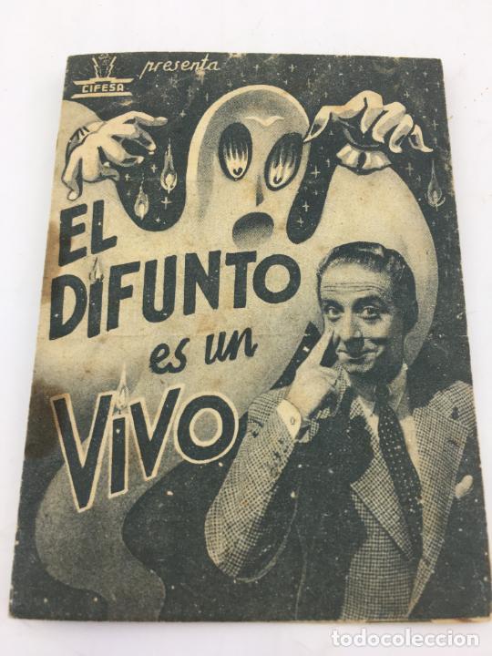 EL DIFUNTO ES UN VIVO - CIFESA - FOLLETO DE MANO DOBLE - REF. FM-039 (Cine - Folletos de Mano - Comedia)