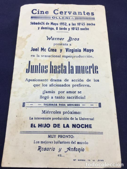Cine: JUNTOS HASTA LA MUERTE - W.B. - FOLLETO DE MANO SENCILLO - REF. FM-036 - Foto 2 - 222692838