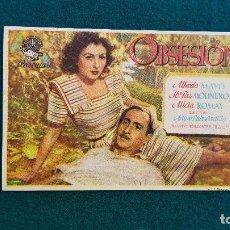 Cine: PROGRAMA DE MANO CINE OBSESION (1948) CON CINE AL DORSO. Lote 222702733