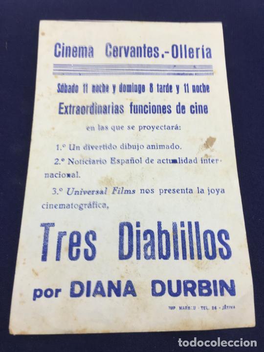 Cine: TRES DIABLILLOS POR DIANA DURBIN - FOLLETO DE MANO SENCILLO - REF. FM-064 - Foto 2 - 222704208