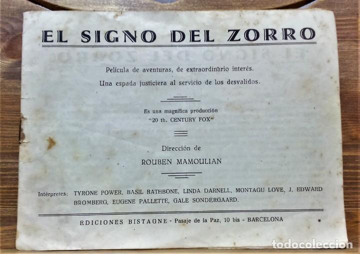 PROGRAMA DE LA PELÍCULA EL SIGNO DEL ZORRO.CON SÍNTESIS ARGUMENTO Y 48 FOTOGRAMAS.1940 APROX. (Cine - Folletos de Mano - Acción)