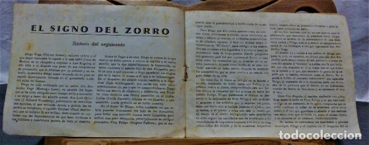 Cine: PROGRAMA DE LA PELÍCULA EL SIGNO DEL ZORRO.CON SÍNTESIS ARGUMENTO Y 48 FOTOGRAMAS.1940 APROX. - Foto 2 - 222727597
