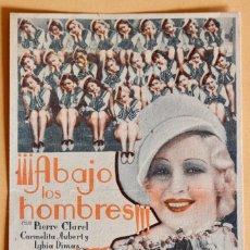 Cine: ABAJO LOS HOMBRES - PIERRE CLAREL - JOSEP Mª CASTELLVI - DORSO SELLO CINEMA GAYARRE-1936. Lote 222736942
