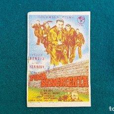 Cine: PROGRAMA DE MANO CINE FUGA SANGRIENTA (1959) CON CINE AL DORSO. Lote 222743461