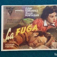 Cine: PROGRAMA DE MANO CINE LA FUGA (1946) CON CINE AL DORSO. Lote 222747400