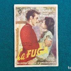 Cine: PROGRAMA DE MANO CINE LA FUGA (1946) CON CINE AL DORSO. Lote 222747842