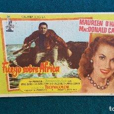 Cine: PROGRAMA DE MANO CINE FUEGO SOBRE AFRICA (1955) CON CINE AL DORSO. Lote 222760467