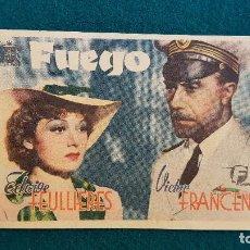 Cine: PROGRAMA DE MANO CINE FUEGO (1942) CON CINE AL DORSO. Lote 222796641