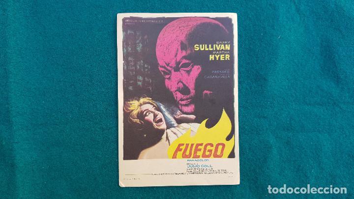PROGRAMA DE MANO CINE FUEGO (1964) CON CINE AL DORSO (Cine - Folletos de Mano - Terror)