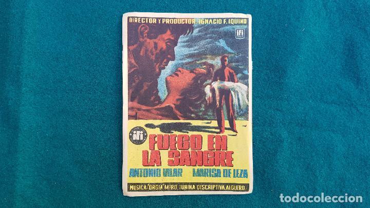 PROGRAMA DE MANO CINE FUEGO EN LA SANGRE (1954) CON CINE AL DORSO (Cine - Folletos de Mano - Terror)