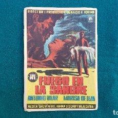 Cine: PROGRAMA DE MANO CINE FUEGO EN LA SANGRE (1954) CON CINE AL DORSO. Lote 222798788