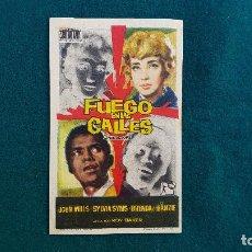 Cine: PROGRAMA DE MANO CINE FUEGO EN LAS CALLES (1962) CON CINE AL DORSO. Lote 222801423