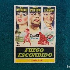 Cine: PROGRAMA DE MANO CINE FUEGO ESCONDIDO (1958) CON CINE AL DORSO. Lote 222801761