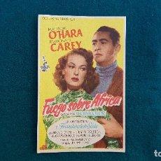 Cine: PROGRAMA DE MANO CINE FUEGO SOBRE AFRICA (1955) CON CINE AL DORSO. Lote 222801857
