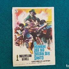 Cine: PROGRAMA DE MANO CINE EL HOMBRE QUE NO QUERIA SER SANTO (1963) CON CINE AL DORSO. Lote 222802806