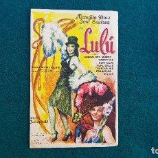 Flyers Publicitaires de films Anciens: PROGRAMA DE MANO CINE LULÚ (1962) CON CINE AL DORSO. Lote 222802867