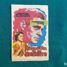 Cine: PROGRAMA DE MANO CINE ANGUSTIA DE UN SECRETO (1962) CON CINE AL DORSO. Lote 222803111