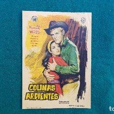 Cine: PROGRAMA DE MANO CINE COLINAS ARDIENTES (1962) CON CINE AL DORSO. Lote 222803246