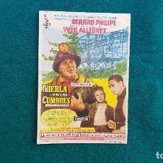 Cine: PROGRAMA DE MANO CINE NIEBLA EN LAS CUMBRES (1962) CON CINE AL DORSO. Lote 222803297