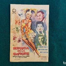 Cine: PROGRAMA DE MANO CINE MUSICA EN LA SANGRE (1960) CON CINE AL DORSO. Lote 222805885