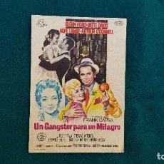 Cine: PROGRAMA DE MANO CINE UN GANGSTER PARA UN MILAGRO (1962) CON CINE AL DORSO. Lote 222806128