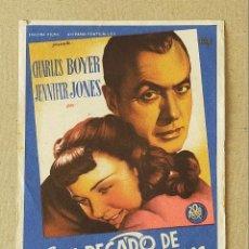 Cine: PROGRAMA DE CINE: EL PECADO DE CLUNY BROWN. CHARLES BOYER, JENNIFER JONES - SIN PUBLICIDAD.. Lote 222806317