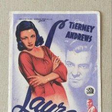 Cine: PROGRAMA DE CINE: LAURA. GENE TIERNEY, DANA ANDREWS - SIN PUBLICIDAD.. Lote 222806657