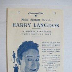 Cine: HARRY LANGDON-MACK SENNET-CINNAMOND FILM-PROGRAMA DE CINE ANTIGUO-VER FOTOS-(K-861). Lote 222838071