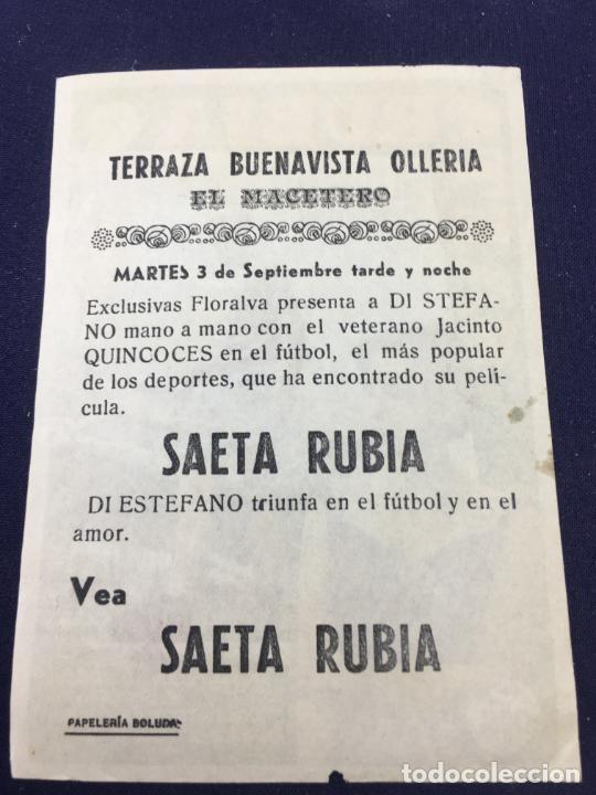Cine: SAETA RUBIA con Alfredo Di Stefano - FOLLETO DE MANO SENCILLO - REF. FM-124 - Foto 2 - 222840121