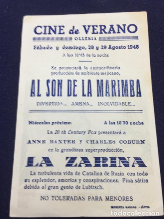 Cine: AL SON DE LA MARIMBA - FOLLETO DE MANO SENCILLO - REF. FM-122 - Foto 2 - 222840541