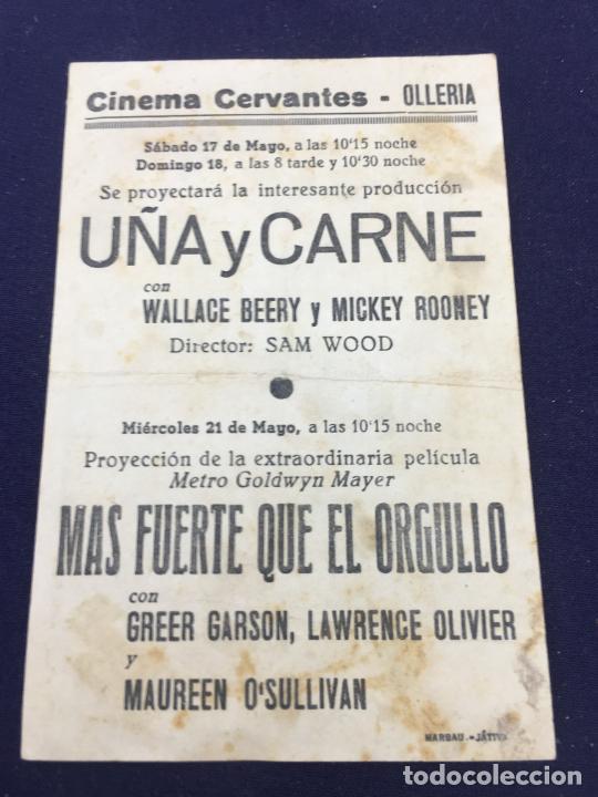 Cine: UÑA Y CARNE - FOLLETO DE MANO SENCILLO - REF. FM-121 - Foto 2 - 222840802