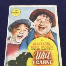 Cine: UÑA Y CARNE - FOLLETO DE MANO SENCILLO - REF. FM-121. Lote 222840802