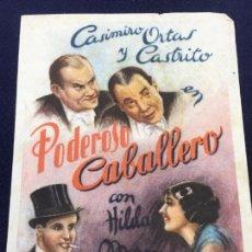 Cine: PODEROSO CABALLERO - FOLLETO DE MANO SENCILLO - REF. FM-113. Lote 222843106