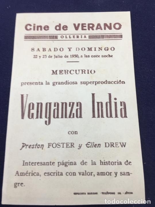 Cine: VENGANZA INDIA - FOLLETO DE MANO SENCILLO - REF. FM-111 - Foto 2 - 222856541