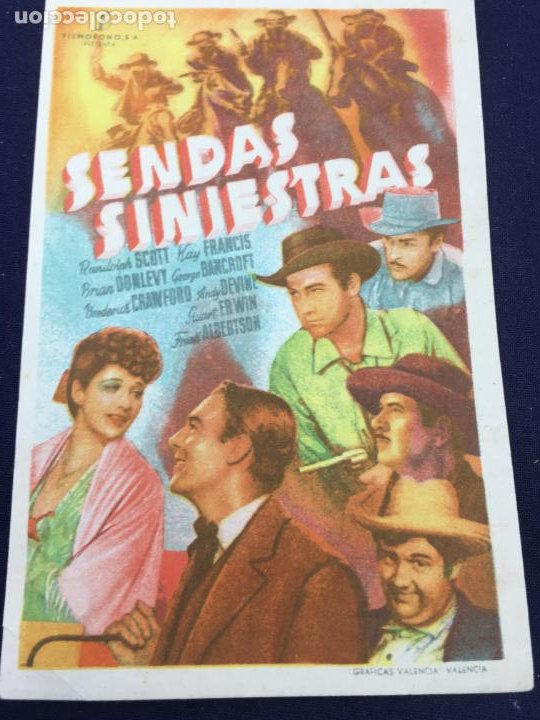 SENDAS SINIESTRAS - FOLLETO DE MANO SENCILLO - REF. FM-110 (Cine - Folletos de Mano - Westerns)