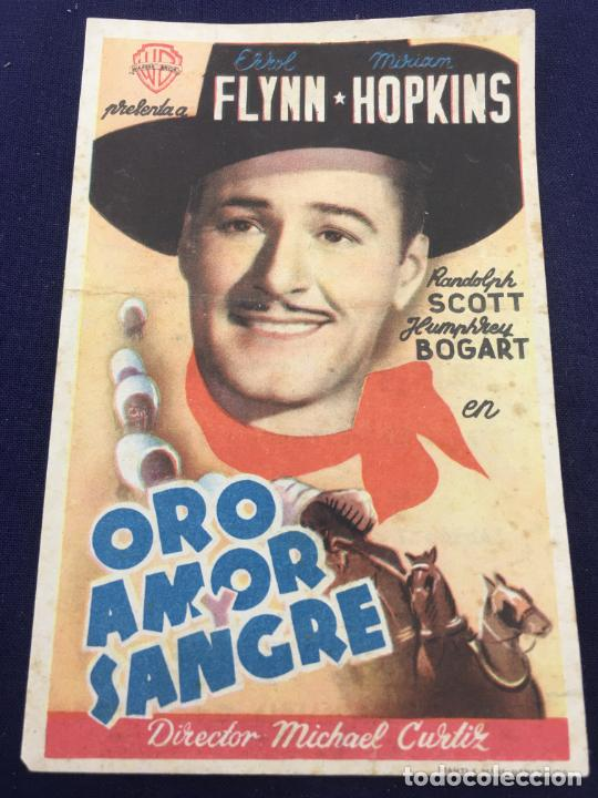 ORO AMOR Y SANGRE - FOLLETO DE MANO SENCILLO - REF. FM-108 (Cine - Folletos de Mano - Westerns)
