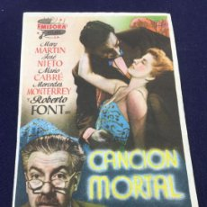 Cine: CANCION MORTAL - FOLLETO DE MANO SENCILLO - REF. FM-094. Lote 222910797