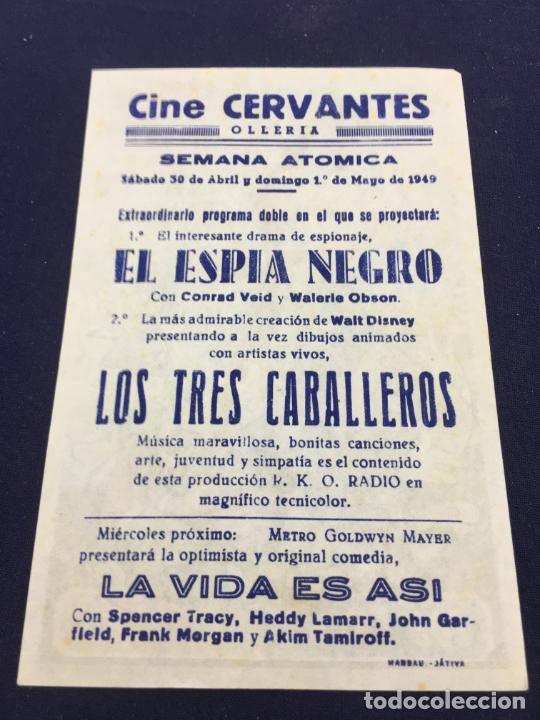 Cine: LOS TRES CABALLEROS de Walt Disney - FOLLETO DE MANO SENCILLO - REF. FM-093 - Foto 2 - 222911491