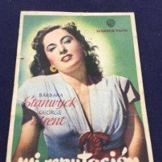 Cine: MI REPUTACION CON BARBARA STANWYCK - FOLLETO DE MANO SENCILLO - REF. FM-087. Lote 222917902