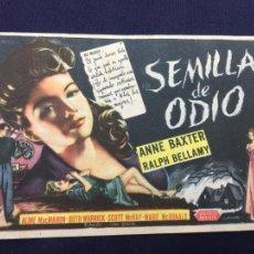 Cine: SEMILLA DE ODIO - FOLLETO DE MANO SENCILLO - REF. FM-177. Lote 222937837