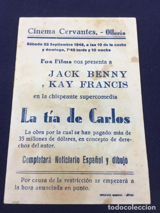 Cine: LA TIA DE CARLOS - FOLLETO DE MANO SENCILLO - REF. FM-175 - Foto 2 - 222938637