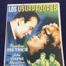 Cine: LOS USURPADORES CON JOHN WAYNE - FOLLETO DE MANO SENCILLO - REF. FM-174. Lote 222938985