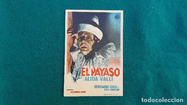 PROGRAMA DE MANO CINE EL PAYASO (S/F) CON CINE AL DORSO (Cine - Folletos de Mano - Terror)